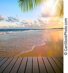 arte, playa, vista