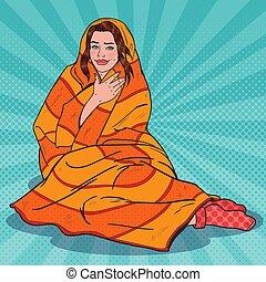 arte pnf, bonito, mulher relaxando, coberto, com, morno, blanket., menina, sentimento, cold., vetorial, ilustração
