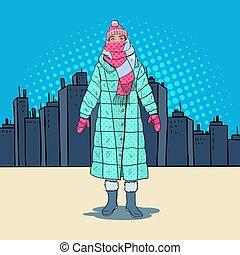 arte pnf, mulher bonita, em, morno, roupas inverno, em, a, city., gelado, weather., vetorial, ilustração
