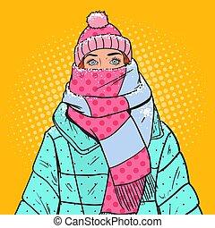 arte pnf, retrato, de, mulher bonita, em, morno, inverno, clothes., gelado, weather., vetorial, ilustração