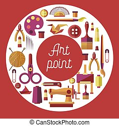arte, ponto, passatempo, e, arte, quadro, cosendo, e,...