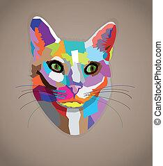 arte pop, colorido, cat.
