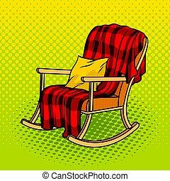 arte, pop, vettore, illustrazione, sedia dondolo