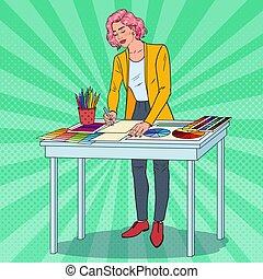 arte popolare, femmina, progettista, con, lavorativo, tools., creativo, illustratore, concept., vettore, illustrazione
