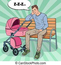 arte popolare, insonne, giovane padre, seduta, su, il, panchina, con, bambino, stroller., parenting, concept., esaurito, uomo, con, neonato, child., vettore, illustrazione