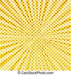 arte popolare, stile, halftone, esplosione, con, luce, rays.
