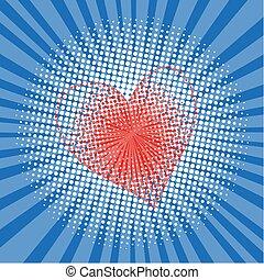 arte popolare, stile, halftone, esplosione, con, raggi luminosi, e, cuore