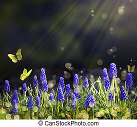 arte, primavera, florecimiento, praderas