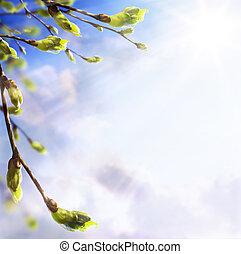 arte, primavera, folhas, jovem, fundo,  easters