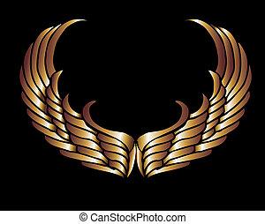 arte, protector, oro, metalic, vector, alas