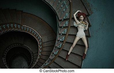 arte, quadro, de, mulher, queda, escadas