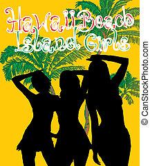 arte, ragazze, bikini, vettore, spiaggia palma