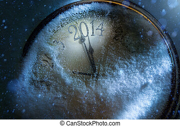 arte, reloj, años, nuevo, 2014, navidad