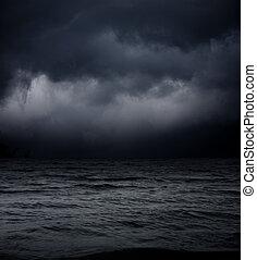 arte, resumen, cielo, contra, oscuridad, fondo., mar negro, ...