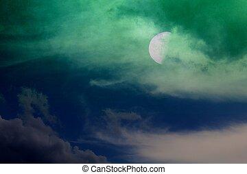 arte, resumen, cielo, plano de fondo, noche
