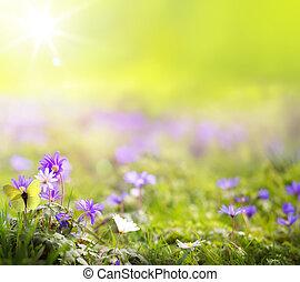 arte, resumen, primavera, fondo verde