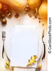 arte, ringraziamento, autunno, cenando, fondo, tavola, zucca