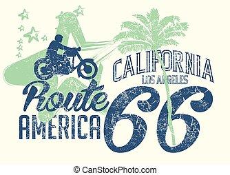 arte, rota, vetorial, califórnia, retro, 66