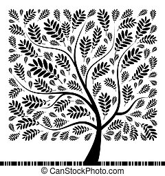 arte, rowan, árvore, bonito, para, seu, desenho
