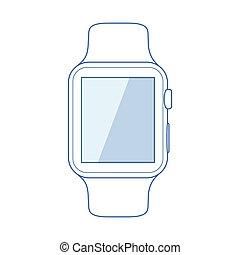 arte, símbolo, smartwatch, fundo, linha, branca