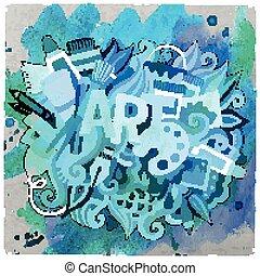 arte, scarabocchiare, illustrazione, mano, vettore, disegnato, cartone animato