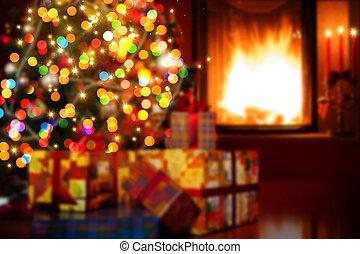 arte, scena natale, con, albero, regali, e, fuoco, in, fondo