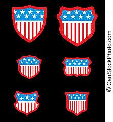 arte, scudo, bandiera, americano, vettore, sfondo nero