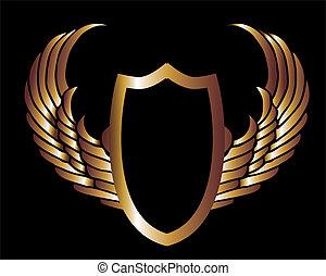 arte, scudo, oro, metalic, vettore, ali