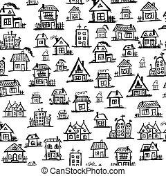arte, seamless, casas, diseño, plano de fondo, su