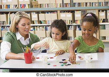 arte, seduta, studenti, classe, asilo, insegnante