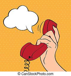 arte, segurando, ilustração, mão, estouro, telefone