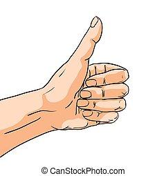arte, semelhante, isolado, gesture., estouro, mão, vetorial, ilustração, cômico, sinal, style.