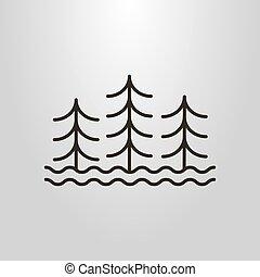 arte, semplice, simbolo, tre, albero, acqua, vettore, onde, linea, astratto