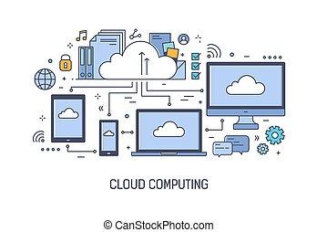 arte, service., calcolare, moderno, elettronico, style., nuvola, web, networked, bandiera, sagoma, file, colorito, informazioni, elaborazione, illustrazione, linea, dati, devices., magazzino, tecnologia, vettore, o