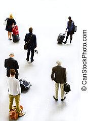 arte, silhuetas, de, pessoas, traveling., esperando, partida