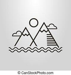 arte, simples, sol, símbolo, água, vetorial, paisagem, nuvens, linha, ondas, montanhas