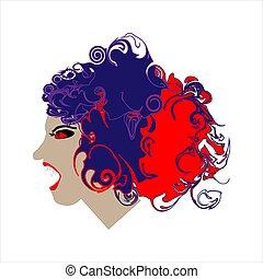 arte, sketch., colorido, garabato, imagen, línea, mal, fondo., vector, retrato, blanco, woman., illustration.