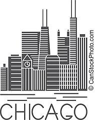 arte, stati uniti, chicago, illustrazione, illinois, orizzonte, vettore, linea