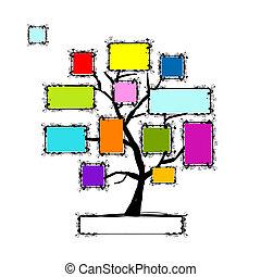 arte, testo, albero, tuo, cornici, posto, foto, o
