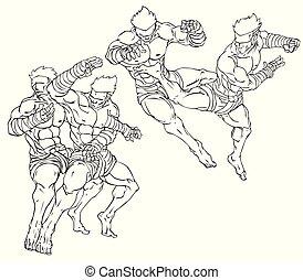 arte, thai., ilustración, marcial, vector, muay