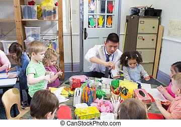 arte, tiempo, en, guardería infantil