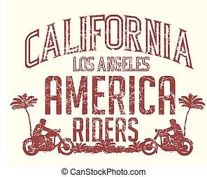 arte, tracciato, vettore, california, retro, 66