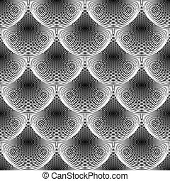 arte, uncolored, linhas, abstratos, pattern., seamless, experiência., vetorial, desenho, textured, grade, círculo, geomã©´ricas