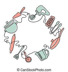 arte, uno, disegno, linea, coltelleria, utensils., fondo., cucina, differente, vettore