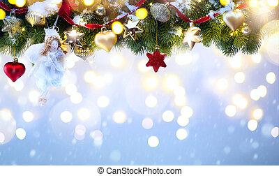 arte, vacanza natale, decoration;, albero abete, rami, e, vacanza, luce, su, blu, nevoso, fondo