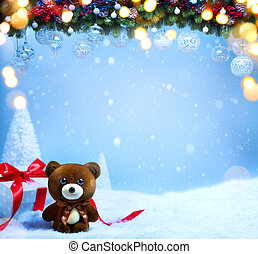 arte, vacanza natale, greeting;, albero abete, rami, e, decorazione festa, su, blu, nevoso, fondo