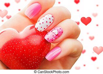 arte, valentine, prego, manicure, feriado, dia