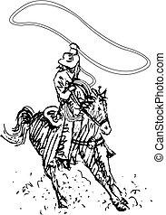 arte, vaquero, rodeo, occidental, línea, jinete