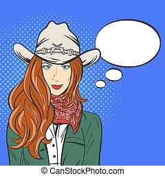 arte, vaquero, west., joven, ilustración, vector, discurso, taponazo, bastante, hat., salvaje, niña, burbuja, style., vacío