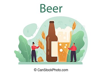 arte, vendimia, jarra, alcohol, jarrade cerveza, concept., botella